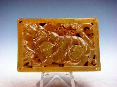 Old Nephrite Jade Carved Square Shaped Pendant Ancient Monster Wolf #11281908