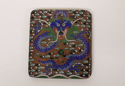 Antique Chinese Cloisonne Enamel Cigarette Case Box with Dragons