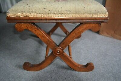 ANTIQUE mahogany  CAMPAIGN STYLE DESIGN FOOTSTOOL w TAPESTRY COVER.