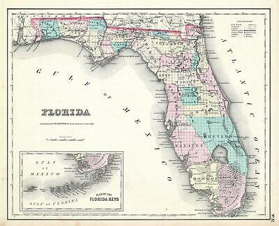 1857 Colton Map of Florida