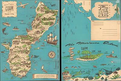 1958 Nelson Pictorial Map of Guam, Marianas Islands