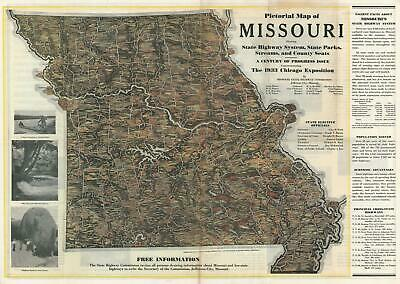 1933 Moody and Missouri State Highway Commission Pictorial Map of Missouri
