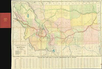 1910 Rand McNally Railroad Commission Map of Montanna
