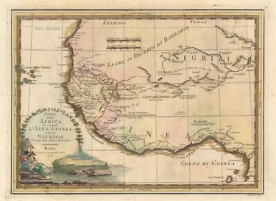 1797 Cassini Map of West Africa and the Gold Coast