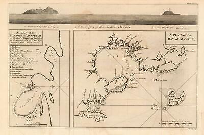 1748 Anson  Map of the Harbors of Acapulco and Manila - Mexico-Philippines