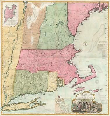 1774 Jefferys and Braddock Mead Map of New England (Most Inhabited Part)