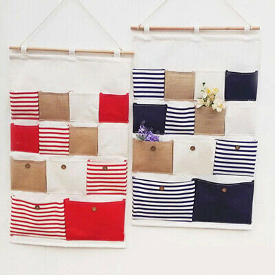 FJ- 13 Pocket Stripe Wall Door Closet Hanging Storage Bag Foldable Sundry Organi