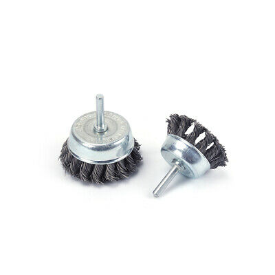 """3"""" Twisted Knotted Cup Wire Brush Round Wheel Set for Debur Metal 1/4"""" Shank 2Pc"""