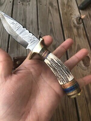Custom Hand Forged Damascus Steel Hunting Knife W/ Stag Handle - St-20