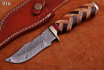 CUSTOM HAND FORGED DAMASCUS STEEL Hunting KNIFE W/ Wood Brass Guard HANDLE-Q 916