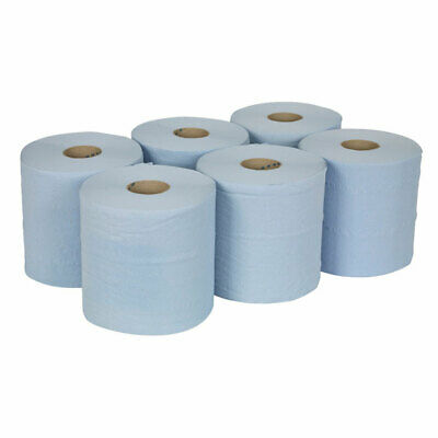 6 x Blue Roll 2ply Quality Centrefeed  Embossed Hand Towel Paper Tissue 80m