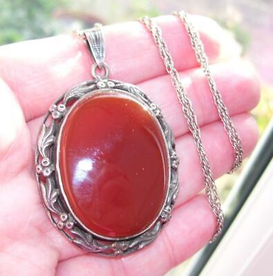 "Stunning Large Antique Solid Silver Carnelian Agate Pendant Necklace w 24"" Chain"