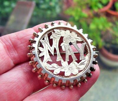 Stunning Large Antique Victorian Solid Silver Name May Pierced Engraved Brooch