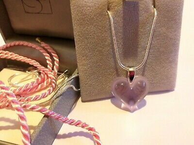 Pendant  Lalique Small Pink Heart Silver Bale /Chain & Silk Cord  - Superb