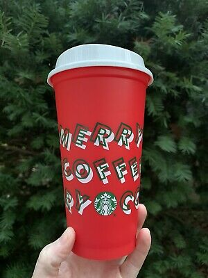 Starbucks 2019 Holiday Reusable Red Cup Grande 16oz MERRY COFFEE