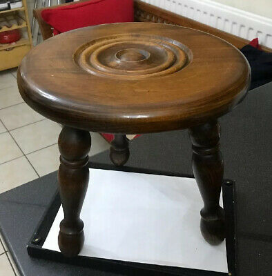 Vtg French Oak Farmhouse Bulls Eye Carved Top Milking Stool Turned BobbIn Legs