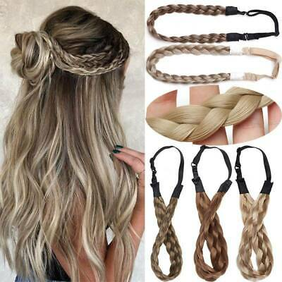 Real as Human Hair Plait Thick Chunky Braided Headband French Braid Band Blonde