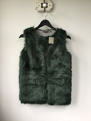 BNWT Gorgeous Next Girls Green Faux Fur Gilet/Waistcoat, Age 12 Years, Tagged