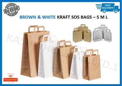 Brown & White Kraft SOS Bags Paper Food Carrier Bags With Handles Party Takeaway