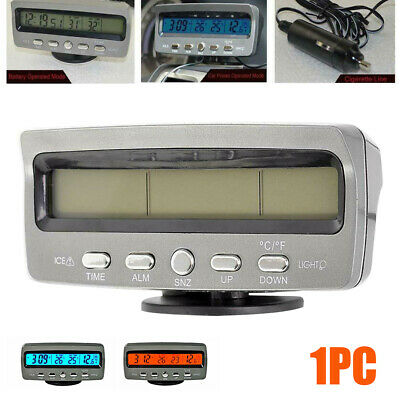 4-in-1 12V Car Digital LED Voltmeter Clock Interior/Exterior Thermometer KIT