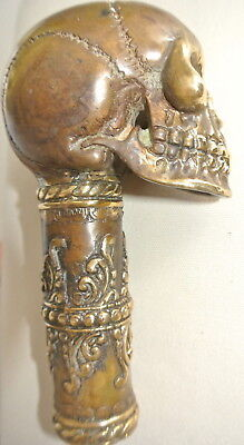 aged walking STICK handle KNOB SKULL 100 % BRASS head ONLY day of the dead