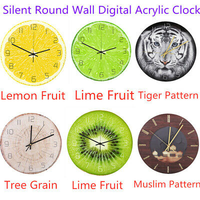 Household Mute Circular Digital Acrylic Wall Clock Office Living Room Decoration