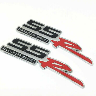 White Red Car Aluminum Grille SSR Emblem Badge Sticker SS R Camaro Signature Series Replacement For Chevrolet