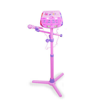 Pink Kids Karaoke System Microphone with Mic Stand & AC Adapter Xmas gift
