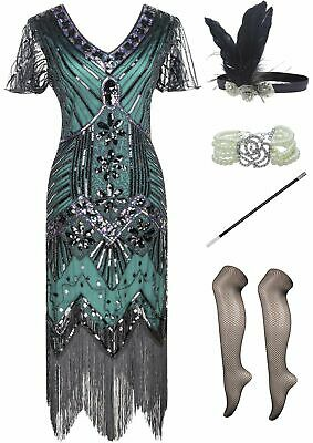 Womens 1920S Gatsby Sequin Lace Cocktail Flapper Dress with 20s Accessories Set