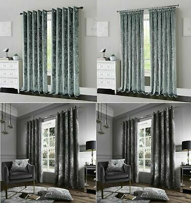 Luxury Crushed Velvet Curtain Ready Made Lined Eyelet Ring Top Or Pencil Pleat