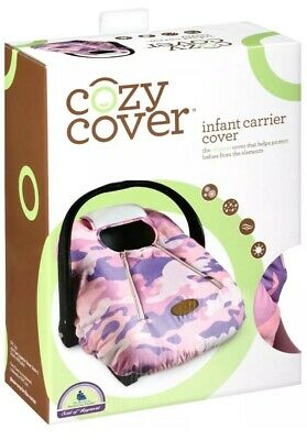 NIB COZY COVER Infant Carrier CAR Seat Cover Pink Camo Weatherproof Soft Fleece