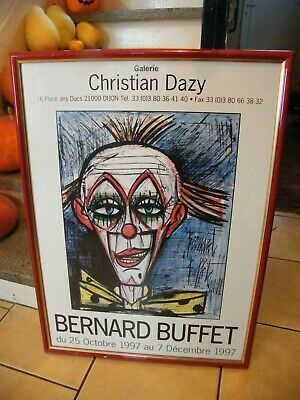 Cartel Original Enmarcada Bernard Buffet Clown Christian Dazy Dijon 1997