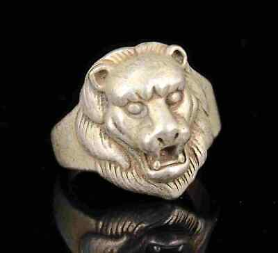 Old Collectible Handwork Carving Tibetan Silver Tiger Statue Ring Gift