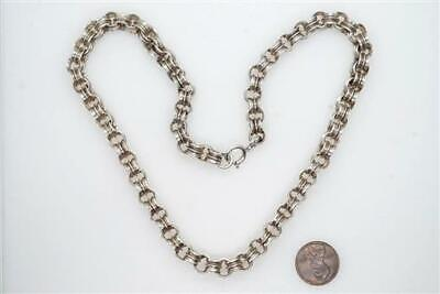 ANTIQUE LATE VICTORIAN ENGLISH SILVER CHAIN NECKLACE c1880