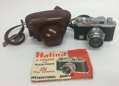 Vintage Halina 35X Camera Anastigmat 1:3.5 F=45mm Leather Case & Manual (E4)