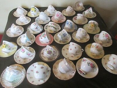 Selection Of Mismatch Vintage China Cups,Saucers, Plates Ideal  Parties, Tearoom