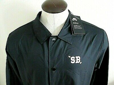 Nike SB Mens Shield Coaches Snap Front water repellent Jacket Black Large NWT