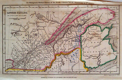 1834 Quebec Lower Canada New Brunswick Antique Map Hand-Colored