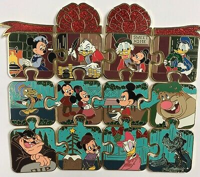 Disney Parks Mickey's Christmas Carol Scrooge Mystery Puzzle 12 LE Pin Set