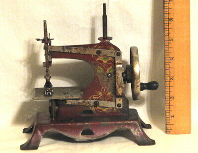 ANTIQUE CASIGE CHILD'S RED TOY SEWING MACHINE - MADE in GERMANY - HAND PAINTED