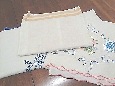 Lot of 3 Antique 100% Linen Damask Very High End Hand Towels