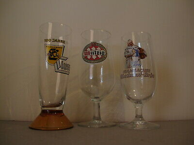 2   German And 1 French  Beer Glasses