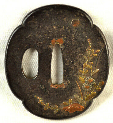 Old Japanese Sword Part Tsuba Copper Silver Gold? Flowers Leaves