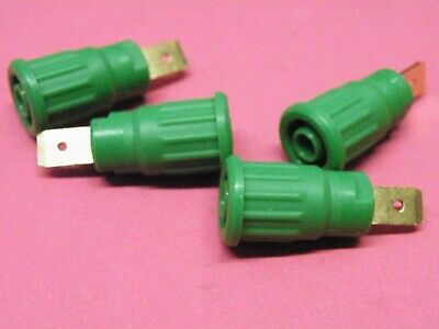 4 Pcs Green 4mm Shrouded Sockets 1000v 20A Push Fit into panel 3T14