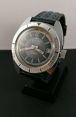 MATY VINTAGE FRENCH BESANCON DIVER'S STEEL BLUE DIAL MVT FB 140 1A