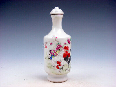 Famille-Rose Glazed Porcelain Snuff Bottle Big Tail Roosters & Flowers #11301902