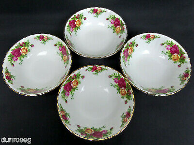 """4 OLD COUNTRY ROSES 16cm, 6"""" CEREAL / DESSERT BOWLS, 1st QLTY, VGC, ROYAL ALBERT"""