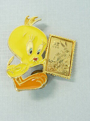 Vintage 1997 Looney Tunes Stamp Collection Tweety Bird Pin Made in USA