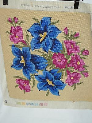 Vintage Hand Embroidered Cross Stitch Panel Mid Century Floral Bouquet