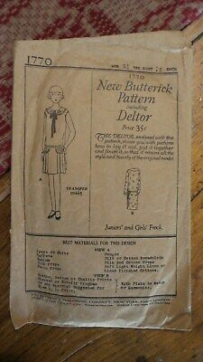 1921 Antique Sewing Pattern BUTTERICK #1770 Junior & Girl's Frock Age 11